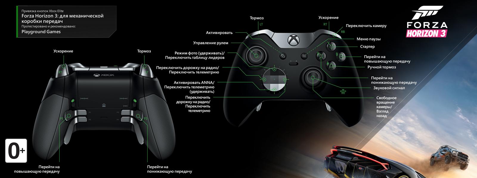 Forza Horizon 3 — раскладка для ручной коробки передач под геймпад Elite