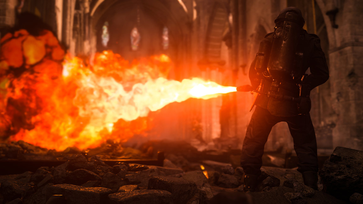 Soldier using flamethrower