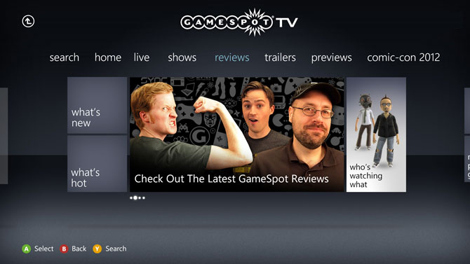 GameSpot TV screen sur Xbox 360