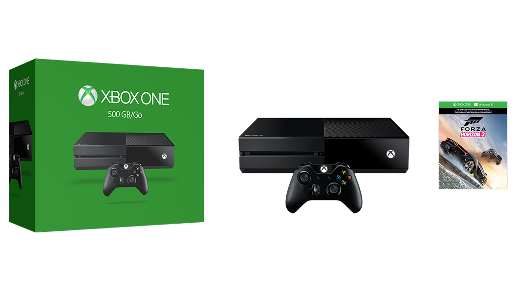 Xbox One console boxshot with console and game boxshot