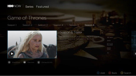 Kinect with HBO NOW on Xbox One screenshot