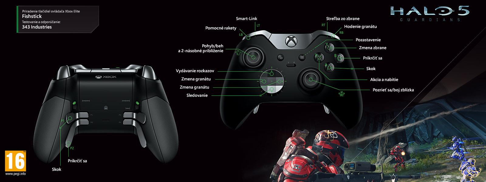 Mapovanie ovládača Elite k hre Halo 5 – Fishstick