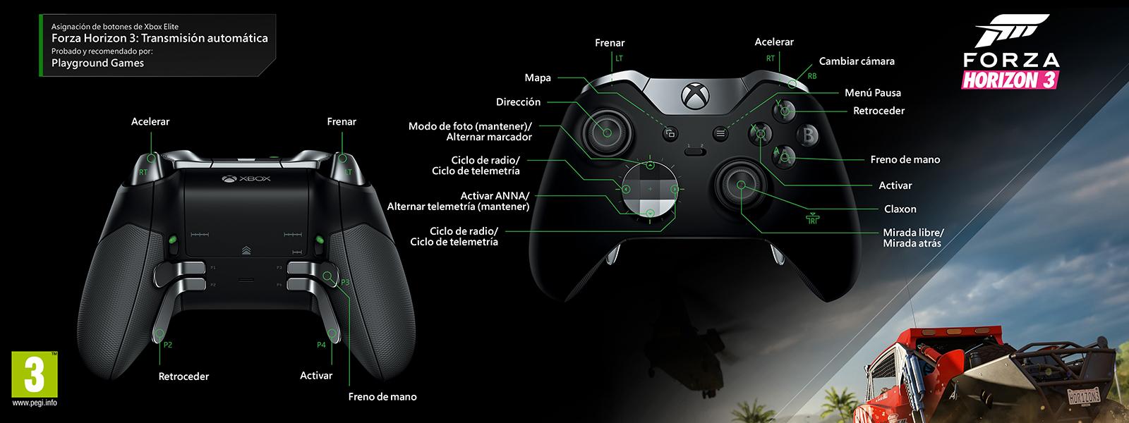 Forza Horizon 3: transmisión automática (asignación de funciones del mando Elite)