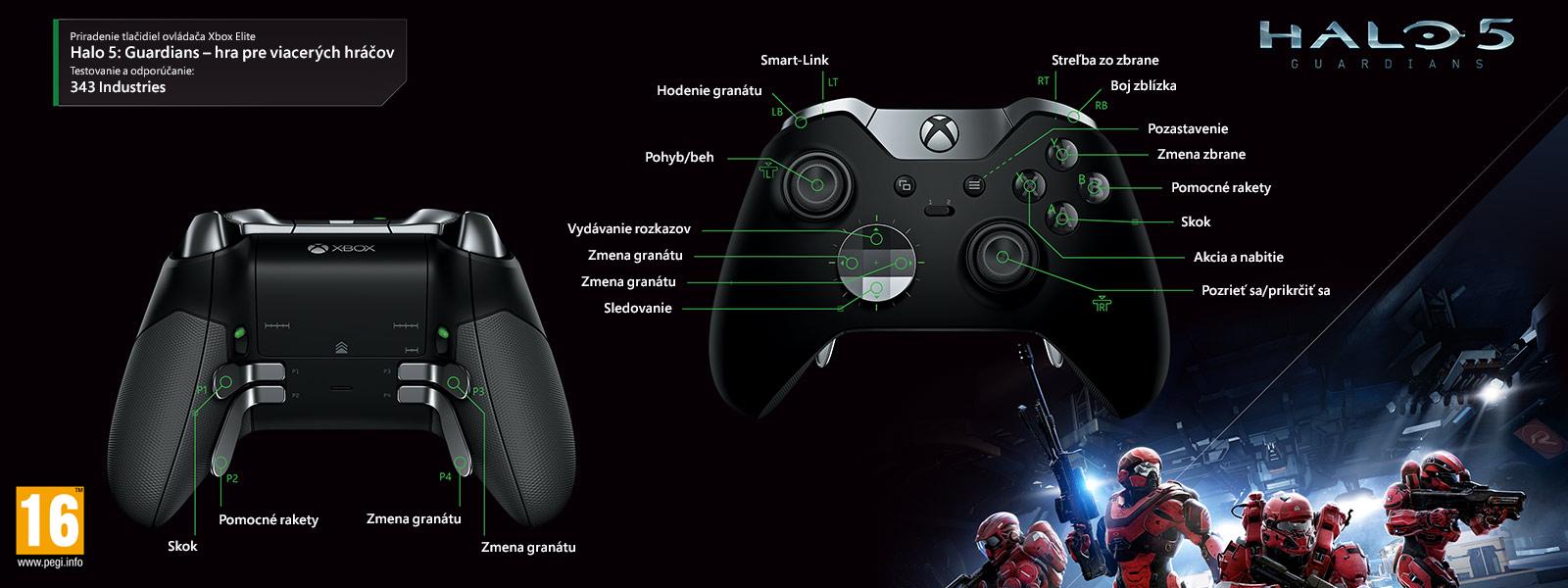 Mapovanie ovládača Elite k režimu pre viacerých hráčov v hre Halo 5: Guardians