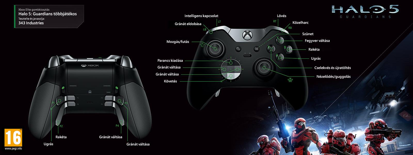 """Halo 5 – Guardians """"többjátékos"""" Elite-gombkiosztás"""