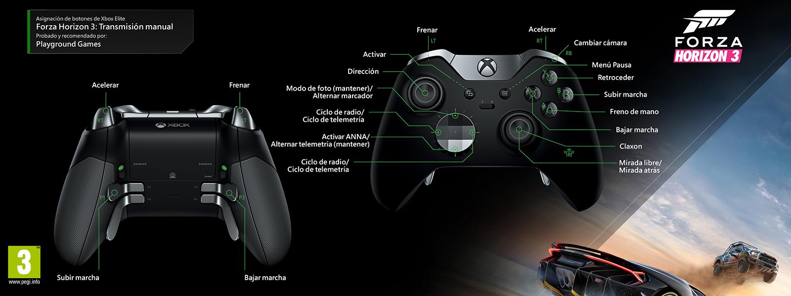 Forza Horizon 3: transmisión manual (asignación de funciones del mando Elite)