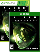 Alien Isolation on Xbox One and Xbox 360 box shots