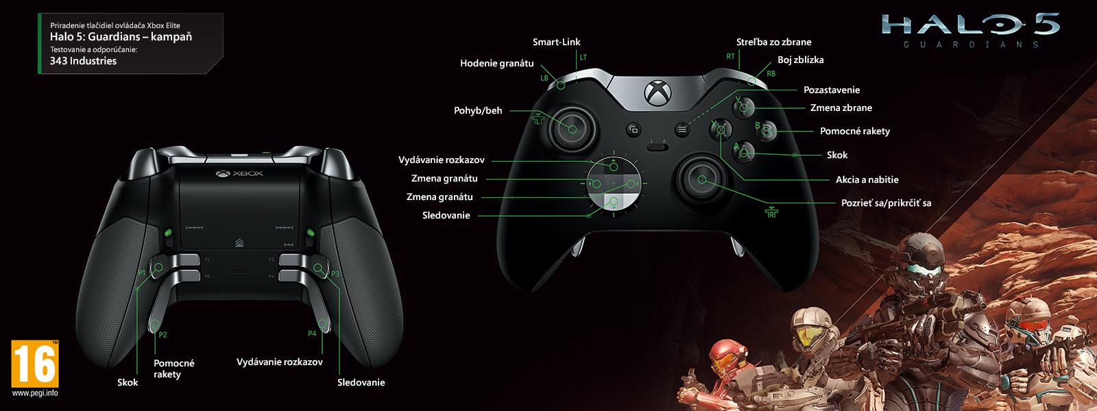 Mapovanie ovládača Elite k režimu kampane v hre Halo 5: Guardians