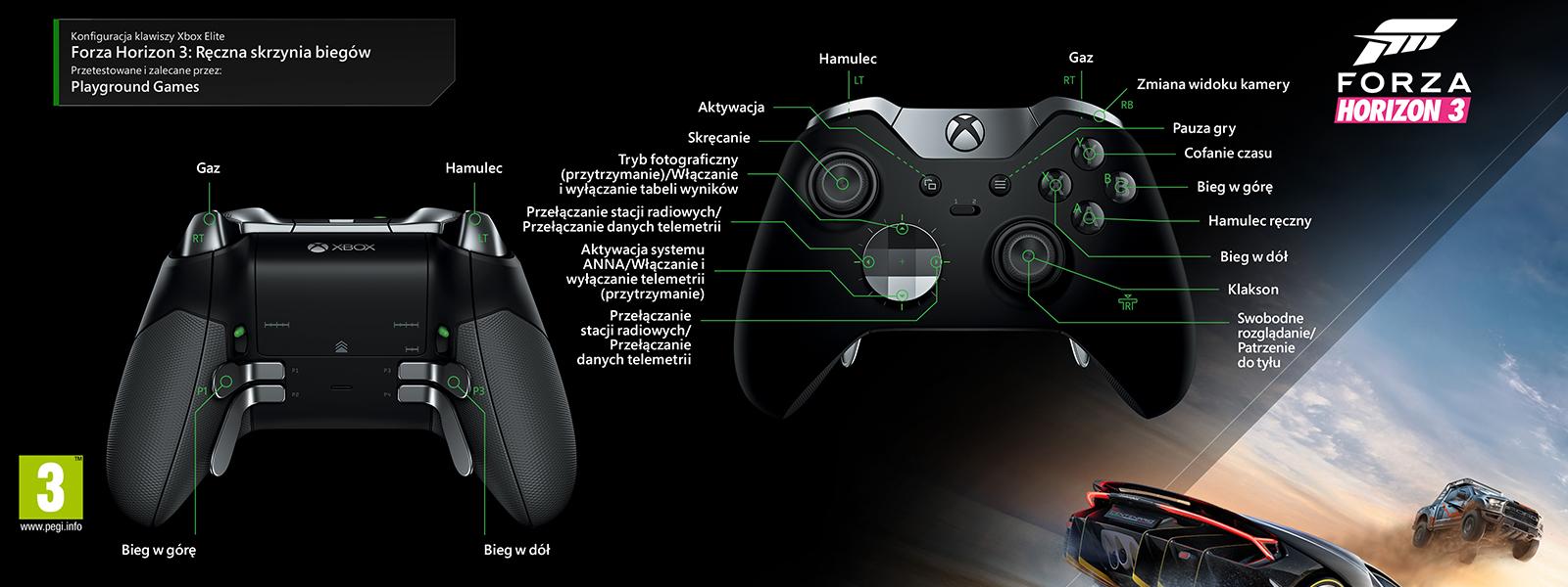 Forza Horizon 3 – mapowanie Elite pod kątem ręcznej zmiany biegów