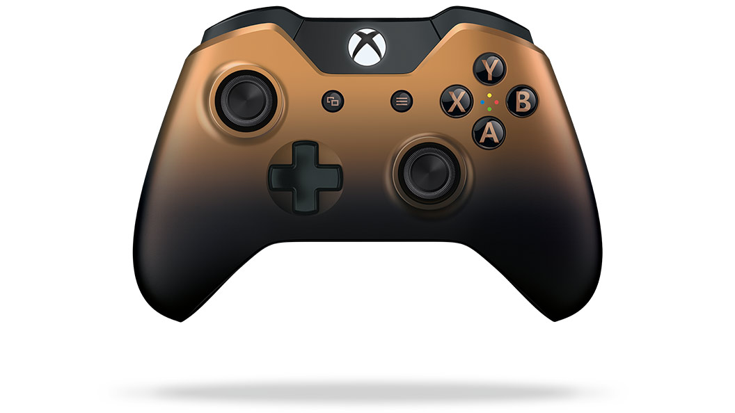 Vista frontal del control Copper Shadow de Xbox