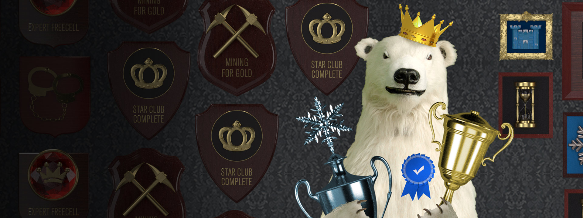Polar bear holding up awards and trophies