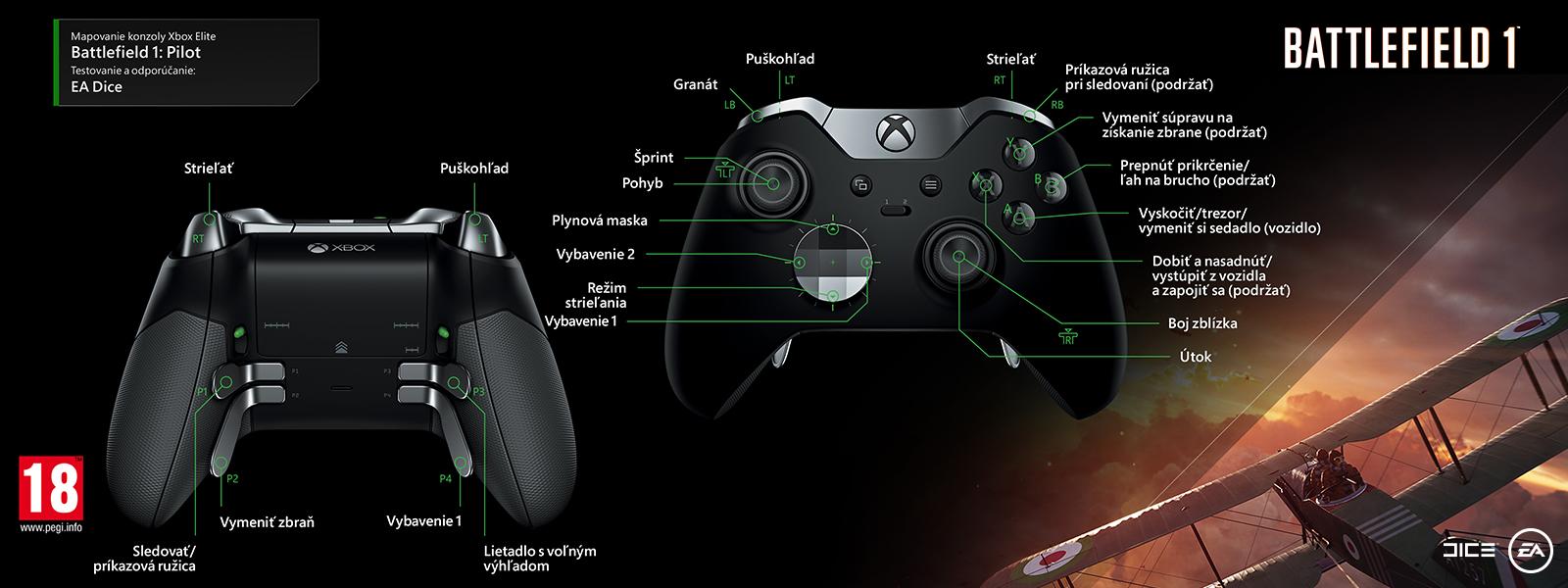 Mapovanie ovládača Elite pre pilota v hre Battlefield 1