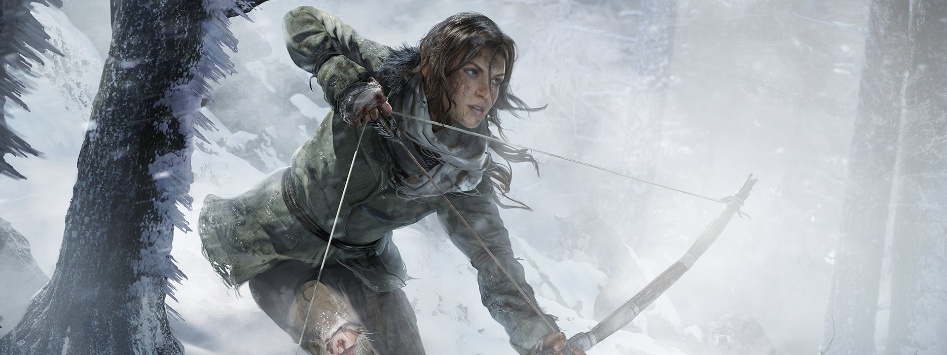 Lara Croft with a hunting bow